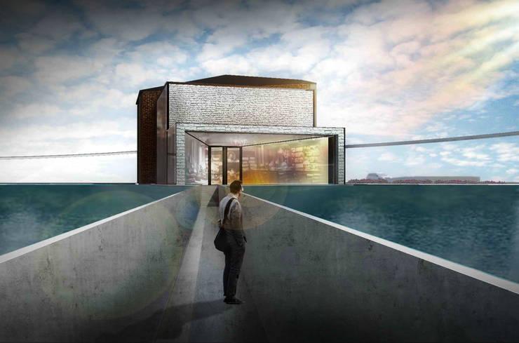 水岸咖啡廳:  餐廳 by 亚卡默设计 Akuma Design , 現代風 水泥