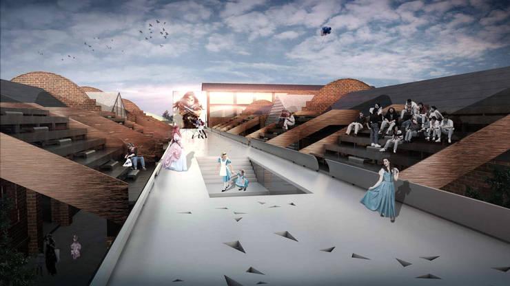 展演台:  活動場地 by 亚卡默设计 Akuma Design , 現代風 金屬