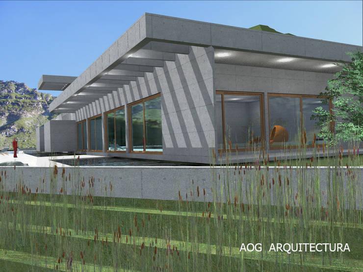 CASA ALAMO: Casas de estilo  por AOG, Mediterráneo Concreto