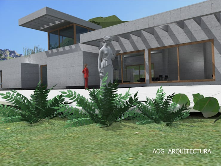 CASA ALAMO: Casas prefabricadas de estilo  por AOG, Mediterráneo Concreto