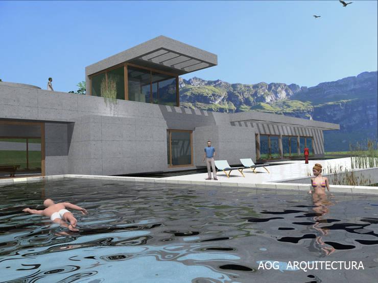CASA ALAMO: Casas unifamiliares de estilo  por AOG, Mediterráneo Concreto