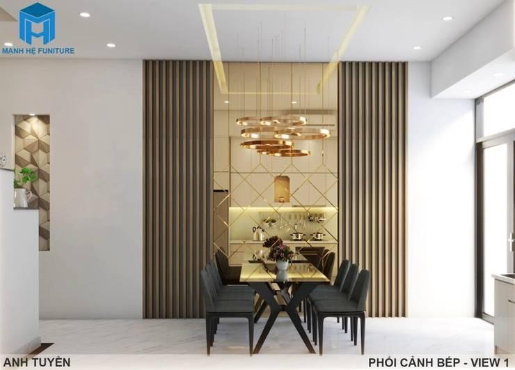 Thiết kế nội thất trọn gói nhà phố 3 thế hệ - 3 phòng ngủ (Anh Tuyền - Q.12):  Phòng ăn by Công ty TNHH Nội Thất Mạnh Hệ, Hiện đại