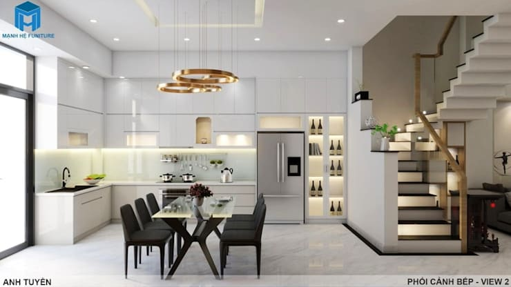 Thiết kế nội thất trọn gói nhà phố 3 thế hệ – 3 phòng ngủ (Anh Tuyền – Q.12):  Nhà bếp by Công ty TNHH Nội Thất Mạnh Hệ, Hiện đại