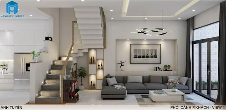 Thiết kế nội thất trọn gói nhà phố 3 thế hệ – 3 phòng ngủ (Anh Tuyền – Q.12):  Phòng khách by Công ty TNHH Nội Thất Mạnh Hệ, Hiện đại