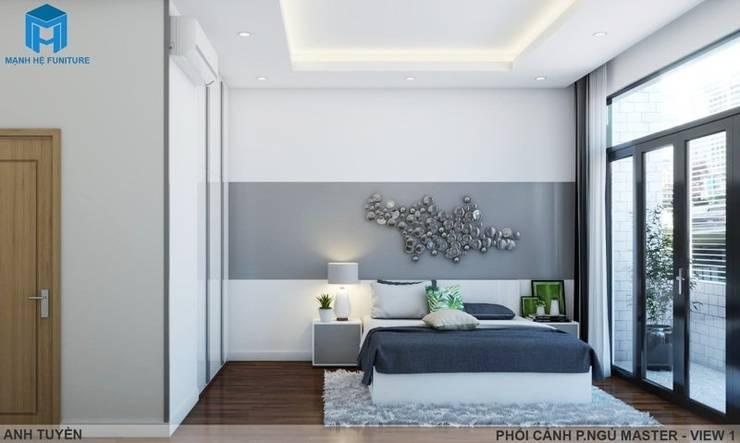 Thiết kế nội thất trọn gói nhà phố 3 thế hệ – 3 phòng ngủ (Anh Tuyền – Q.12):  Phòng ngủ by Công ty TNHH Nội Thất Mạnh Hệ, Hiện đại