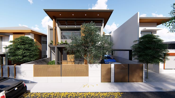 Facade (showing existing tree retained in the design):  Single family home by Structura Architects, Modern Concrete