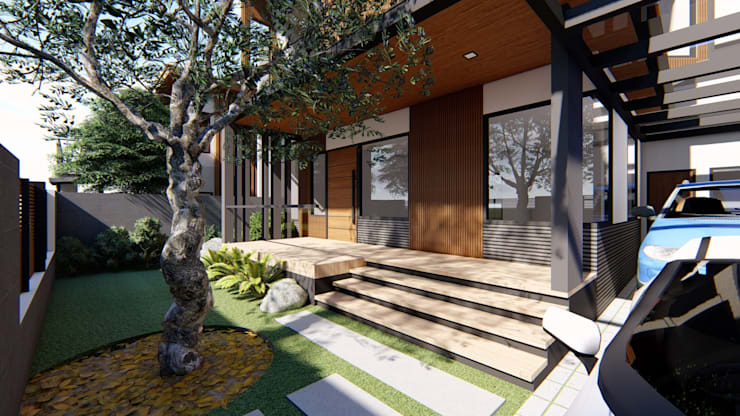 Patio:  Terrace by Structura Architects, Modern Wood Wood effect