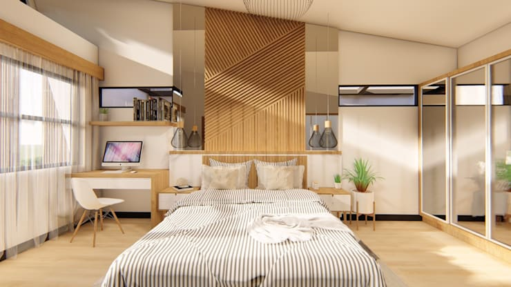 Master Bedroom:  Small bedroom by Structura Architects, Modern Wood Wood effect