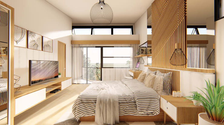 Master Bedroom :  Bedroom by Structura Architects, Tropical Wood Wood effect