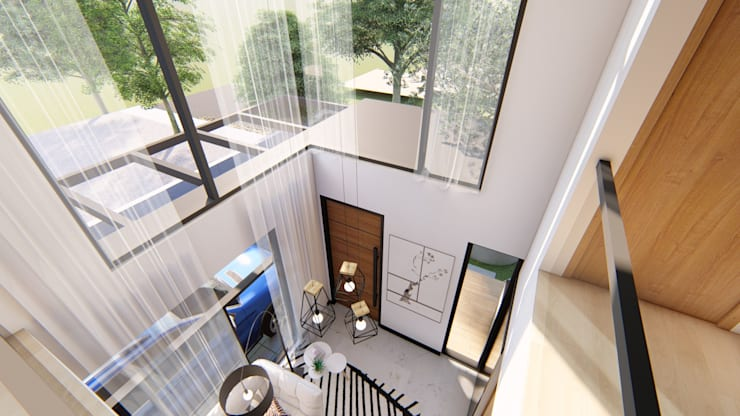 High ceiling area at Living Room:  Living room by Structura Architects, Modern Concrete