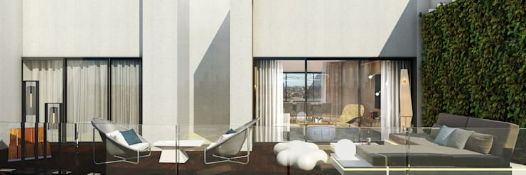 Terrace:  Balcony by  Ashleys,Modern