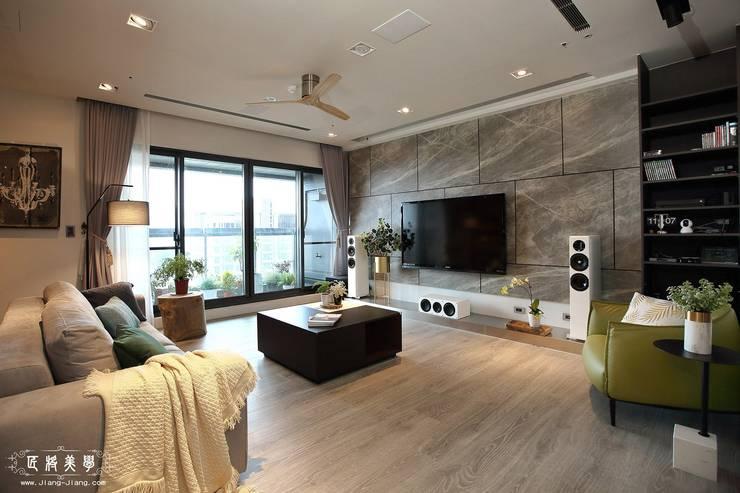傲視品味 大器客廳:  客廳 by 匠將室內裝修設計股份有限公司, 工業風 大理石