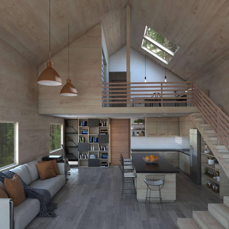 Casa Galpón HI-I: Salas multimedias de estilo  por Soc. Constructora Cavent Spa, Moderno