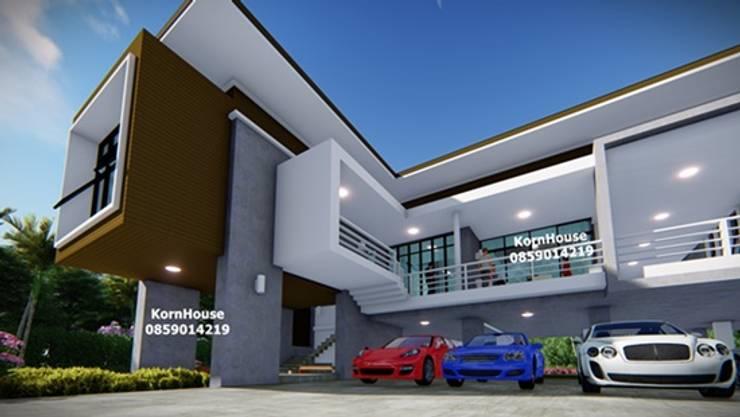 รับออกแบบโรงแรมยกพื้นสูง โดยทีมงานมืออาชีพ:  วิลล่า โดย กรอาร์ช ดีไซน์ / KornArch Design, โมเดิร์น คอนกรีต