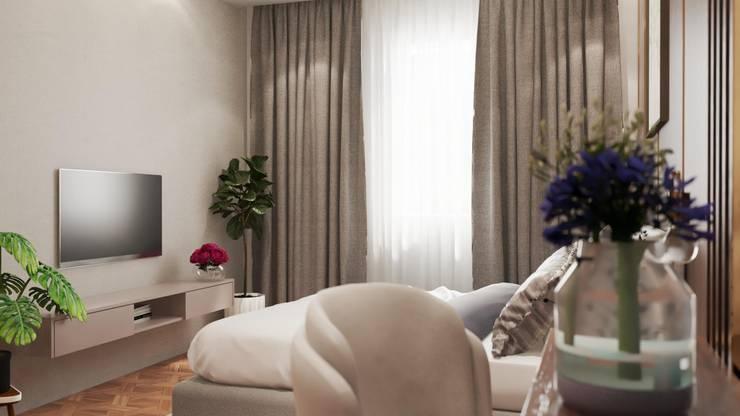 Thi công nội thất nhà phố Thăng Long Home:  Phòng ngủ nhỏ by Công ty TNHH kiến trúc xây dựng nội thất An Phú, Châu Á Gỗ-nhựa composite