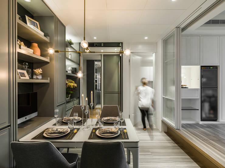 客餐廳:  餐廳 by 你你空間設計, 古典風 塑木複合材料