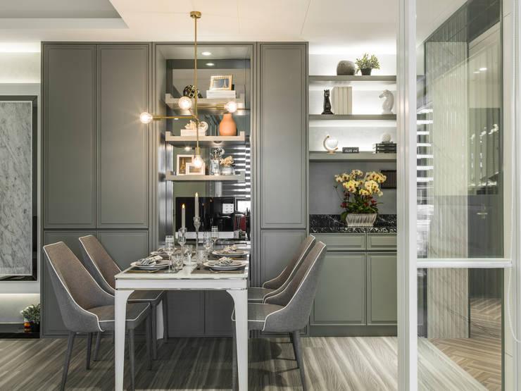 2房打造高機能 精緻收納美式新古典小宅:  餐廳 by 你你空間設計, 古典風 塑木複合材料