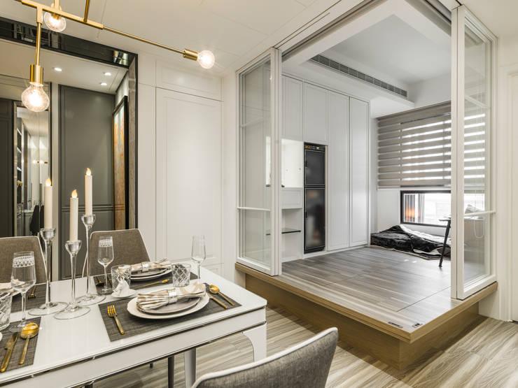 多功能房:  書房/辦公室 by 你你空間設計, 古典風 複合木地板 Transparent