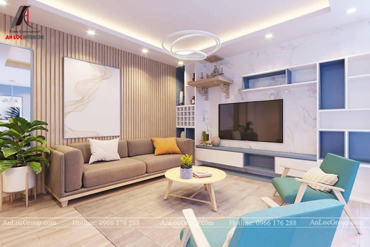 Mẫu thiết kế nội thất căn hộ chung cư cho chị My tại Park City Hà Nội:  Phòng khách by Nội Thất An Lộc, Hiện đại