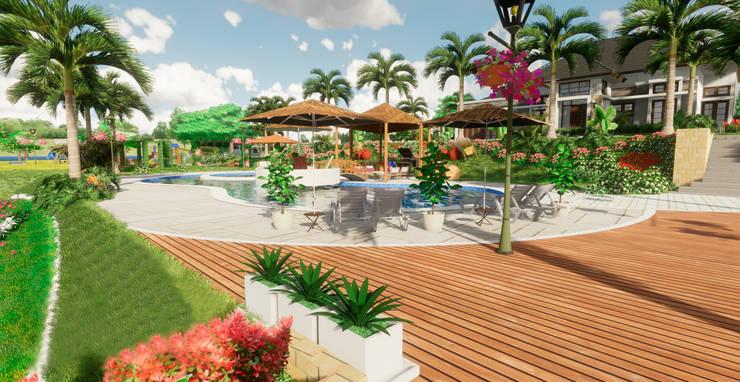 Terraza Piscina: Terrazas de estilo  por ROQA.7 ARQUITECTURA Y PAISAJE, Tropical