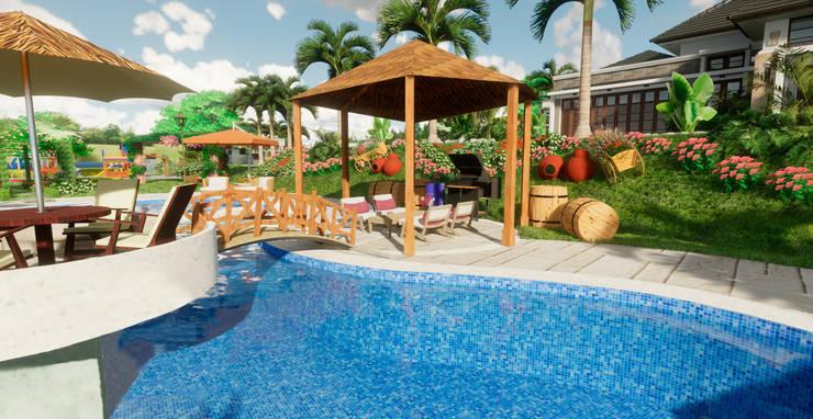 Terraza Piscina: Piscinas de jardín de estilo  por ROQA.7 ARQUITECTURA Y PAISAJE, Tropical