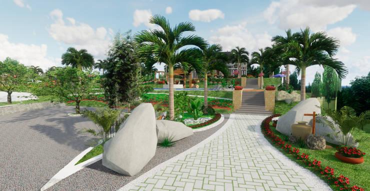 Ingreso: Jardines de piedra de estilo  por ROQA.7 ARQUITECTURA Y PAISAJE, Tropical