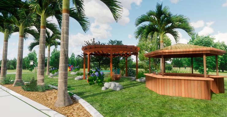 Pérgolas: Jardines de piedra de estilo  por ROQA.7 ARQUITECTURA Y PAISAJE, Tropical