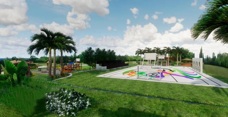 Canchas y jardines: Jardines de piedra de estilo  por ROQA.7 ARQUITECTURA Y PAISAJE, Tropical