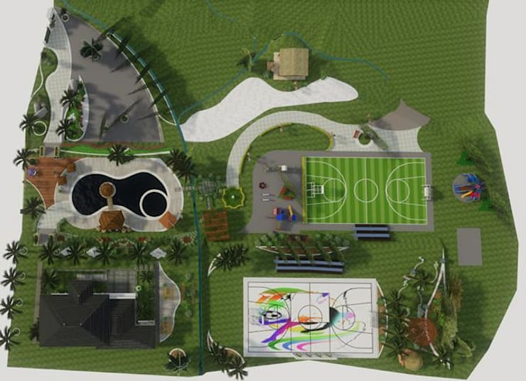Planta del conjunto: Jardines de piedra de estilo  por ROQA.7 ARQUITECTURA Y PAISAJE, Tropical