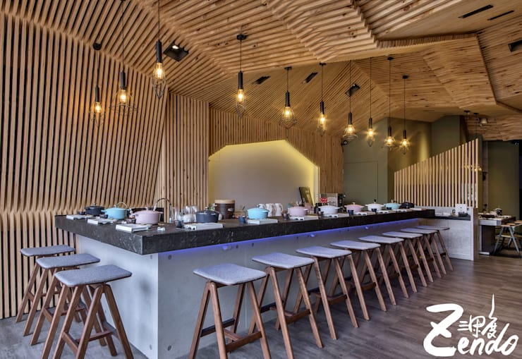 变若水御膳鍋物:  餐廳 by Zendo 深度空間設計, 日式風、東方風 木頭 Wood effect