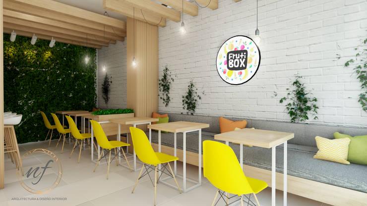 PROYECTO JUGUERIA FRUTI BOX : Espacios comerciales de estilo  por NF Diseño de Interiores , Escandinavo