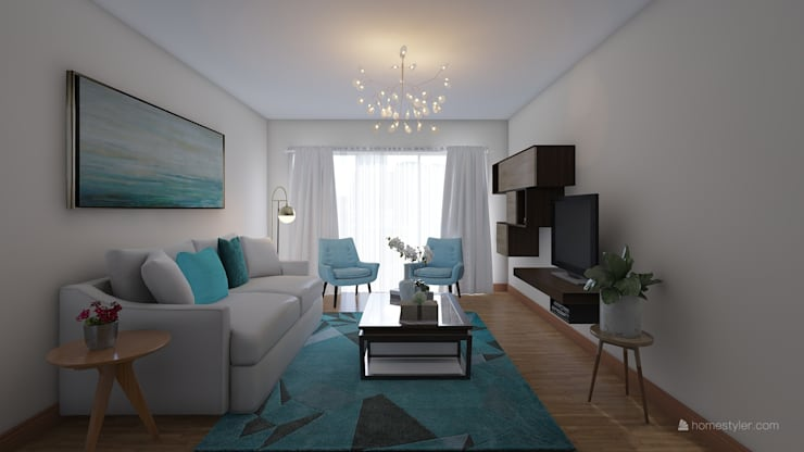 Sala y centro de entretenimiento.: Salas de entretenimiento de estilo  por JRV Arquitectura y Diseño, Moderno Tablero DM