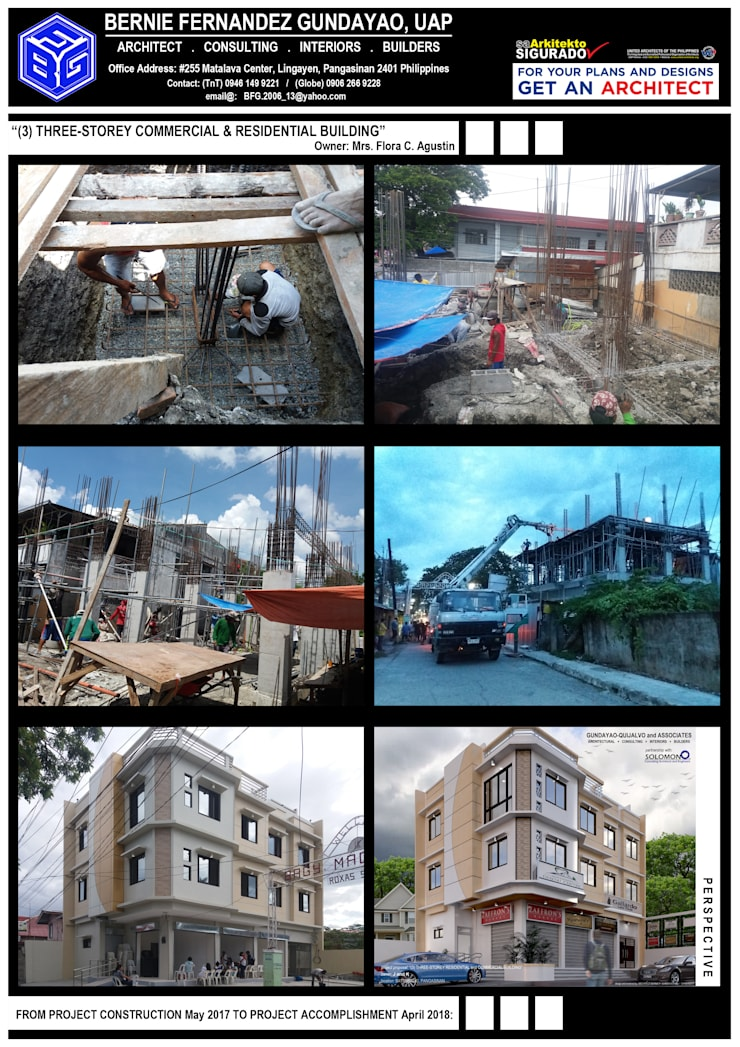 """""""THREE(3)-STOREY RESIDENTIAL & COMMERCIAL BUILDING"""":  Commercial Spaces by BFG Architectural Services, Asian Concrete"""
