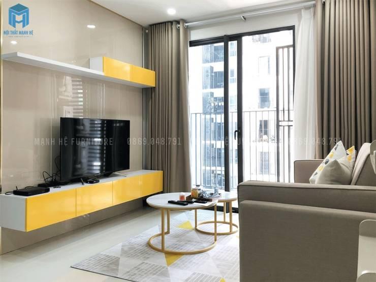 Kệ ti vi gỗ công nghiệp phủ acrylic:  Phòng khách by Công ty TNHH Nội Thất Mạnh Hệ, Hiện đại Gỗ thiết kế Transparent