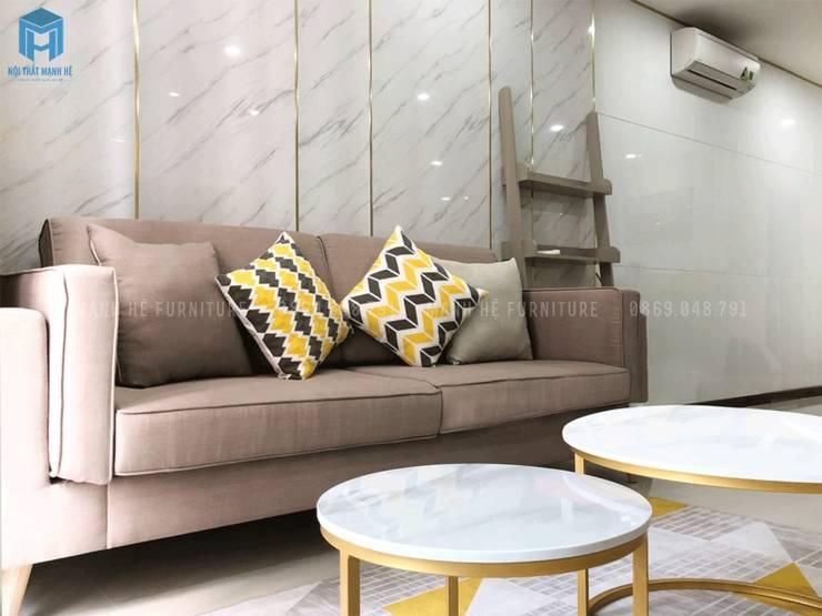 Ghế sofa chữ I phòng khách:  Phòng khách by Công ty TNHH Nội Thất Mạnh Hệ, Hiện đại Gỗ thiết kế Transparent