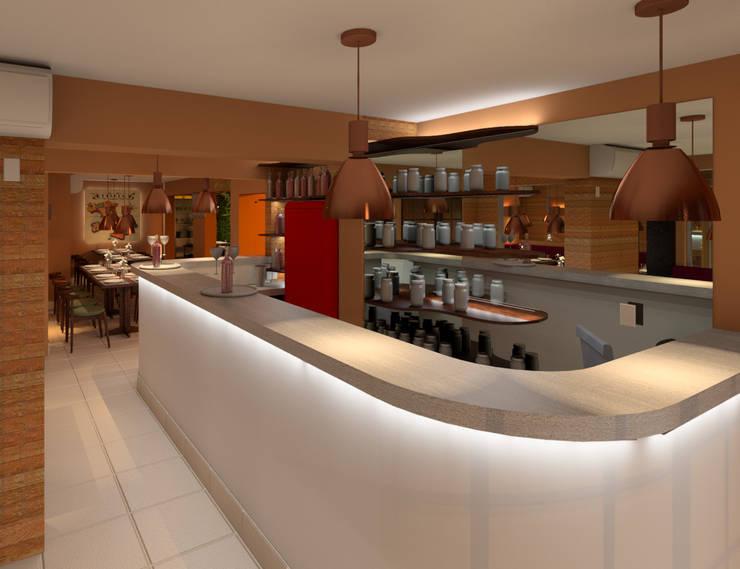 Bar of the Trattoria La Cabonara by Elaine Hormann Architecture Modern Concrete