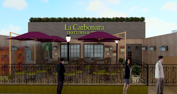 Fassade of the Trattoria La Carbonara by Elaine Hormann Architecture Modern Concrete