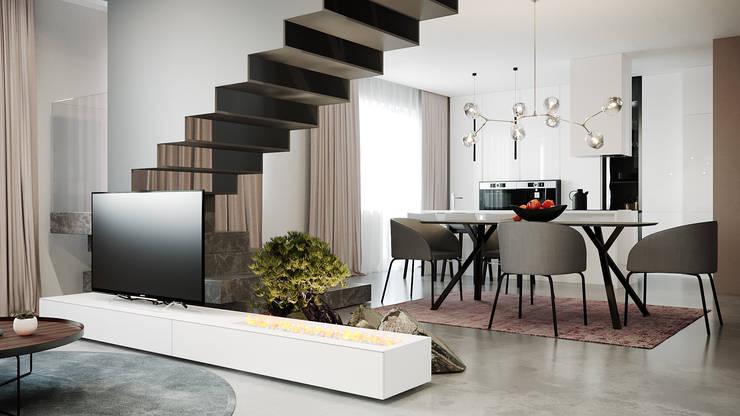 Salas de estilo minimalista de дизайн студия А Гординского Minimalista Compuestos de madera y plástico