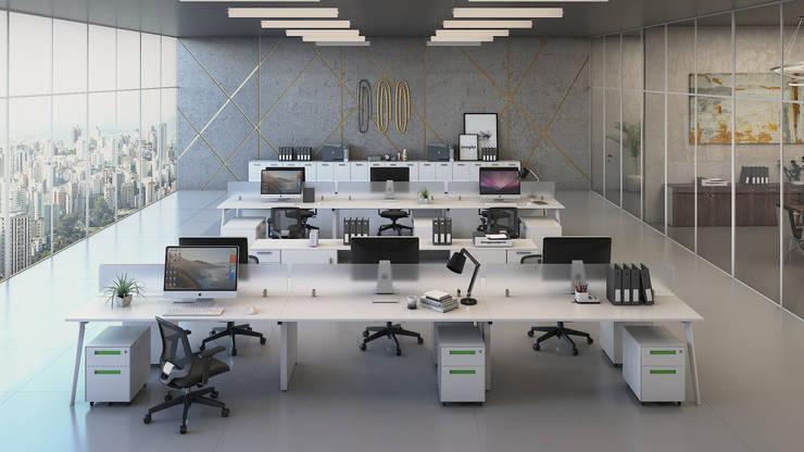 Oficinas Brickell: Oficinas de estilo  por Gabriela Afonso, Moderno