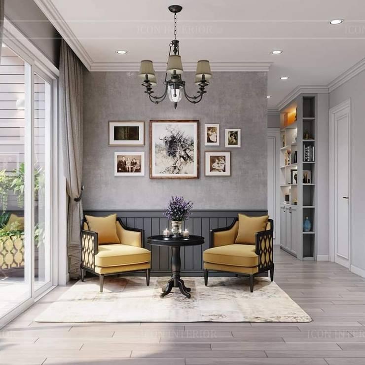 Vintage style: Phong cách nội thất hoài niệm:  Phòng khách by ICON INTERIOR, Mộc mạc