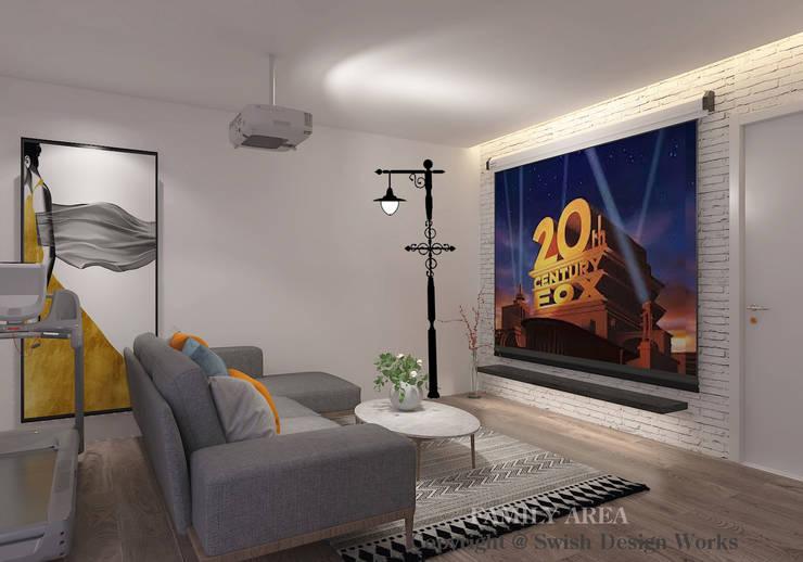 Family entertainment room Modern living room by Swish Design Works Modern