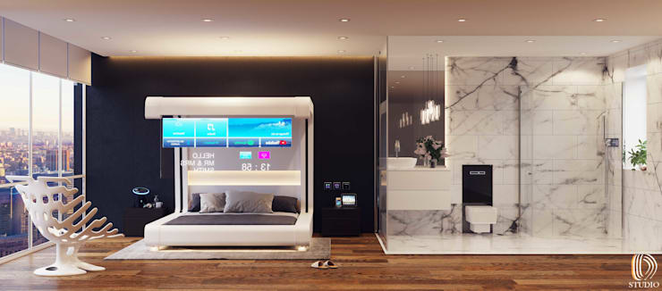 856-01-Futuristic Mock up Hotel Room by ID STUDIO DESIGN Modern Wood Wood effect