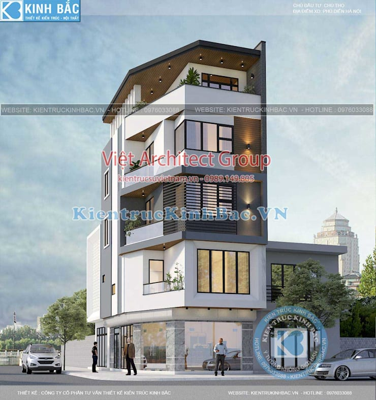 Nhà phố hiện đại mặt tiền đẹp bởi VIỆT ARCHITECT Hiện đại