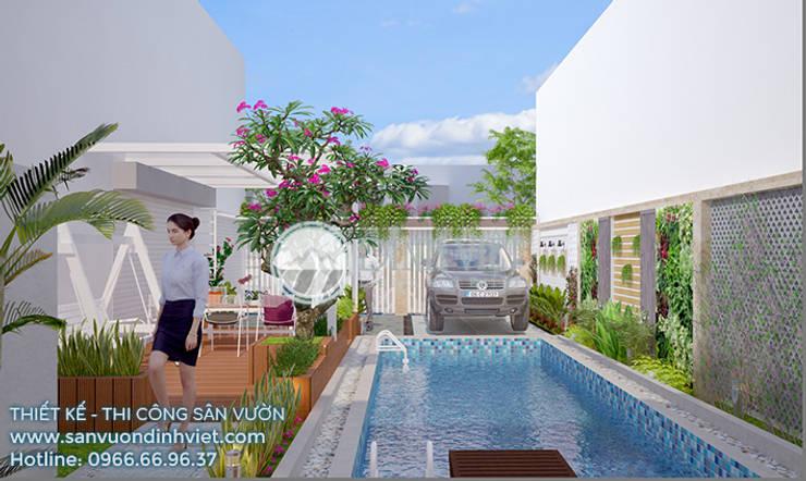 Thiết kế sân vườn hồ bơi biệt thự Anh Minh Q12 Hồ bơi phong cách hiện đại bởi Sân Vườn Đỉnh Việt Hiện đại