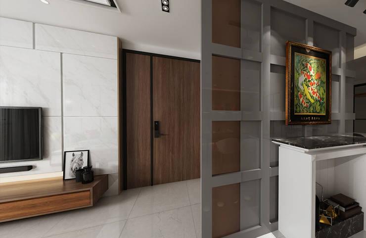 入門後的玄關區,以系統櫃打造木紋質感的鞋櫃 根據 雅和室內設計 北歐風