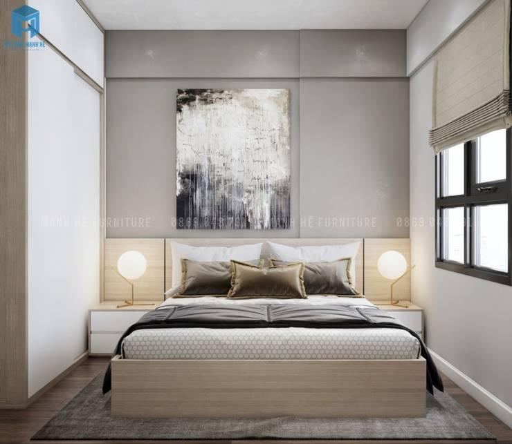 Giường ngủ gỗ công nghiệp cùng 2 tab đầu giường thuận tiện Phòng ngủ phong cách Địa Trung Hải bởi Công ty TNHH Nội Thất Mạnh Hệ Địa Trung Hải