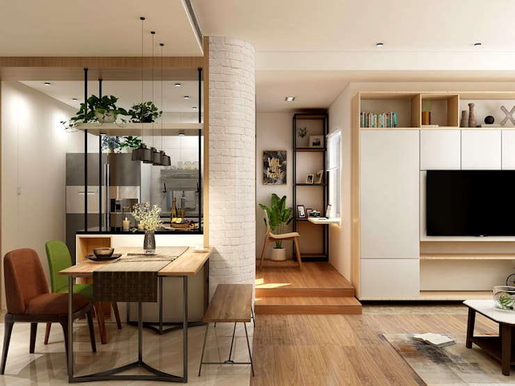 Small Space Minimalist dining room by Coohom Minimalist