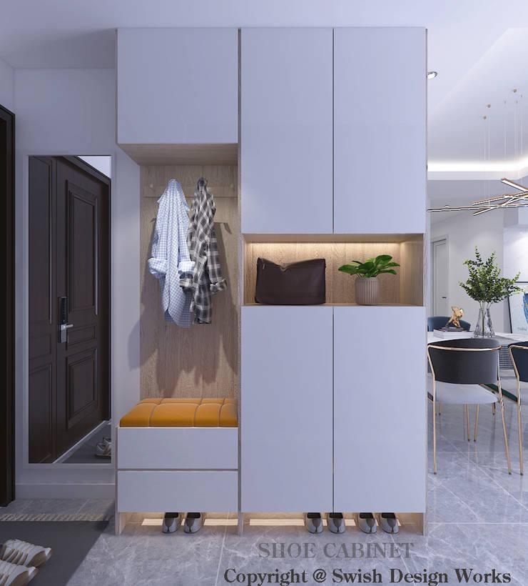 Shoe cabinet Modern corridor, hallway & stairs by Swish Design Works Modern Plywood