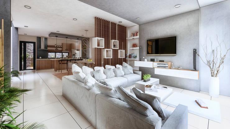 Sala,comedor,cocina y patio Cocinas modernas de Hausni Arquitectura Moderno
