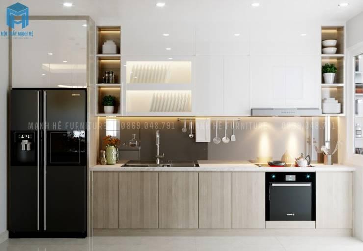 Tủ bếp chữ I gỗ công nghiệp sang trọng và hiện đại Phòng ăn phong cách hiện đại bởi Công ty TNHH Nội Thất Mạnh Hệ Hiện đại